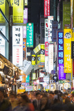 Asia, Republic of Korea, South Korea, Seoul, Neon Lit Streets of Myeong-Dong Photographic Print by Christian Kober