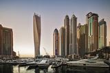 Dubai Marina at Sunset with the Cayan Tower (Infinity Tower) Photographic Print by Cahir Davitt