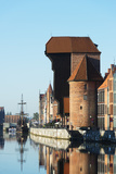 Europe, Poland, Gdansk, Canal Side Houses and Gdansk Crane Photographic Print by Christian Kober