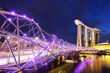 South East Asia, Singapore, Marina Bay Sands and Helix Bridge Photographic Print by Christian Kober
