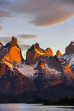 Chile, Torres Del Paine, Magallanes Province. Sunrise over the Peaks of Cuernos Del Paine. Photographic Print by Nigel Pavitt