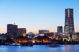 Asia, Japan, Honshu, Yokohama Bay, City Skyline and Mt Fuji, Landmark Tower Photographic Print by Christian Kober