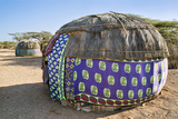 Kenya, Marsabit County, Kalacha. Semi-Permanent Dome-Shaped Homes of the Gabbra at Kalacha. Fotografisk tryk af Nigel Pavitt