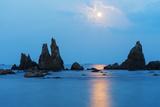 Asia, Japan, Honshu, Wakayama Prefecture, Hashikuiiwa, Full Moon Rising over Rock Stacks Photographic Print by Christian Kober