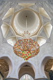 Interior Architectural Detail and Chandeliers of Prayer Hall, Sheikh Zayed Mosque Photographic Print by Cahir Davitt