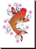 Orange Koi With Floral Design Stretched Canvas Print by  Wonderful Dream