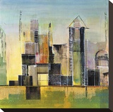 Golden City 2 Stretched Canvas Print by Asha Menghrajani