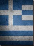 Greece Flag Stretched Canvas Print by  Wonderful Dream