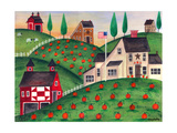 Pumpkin Red Barn Folk Art Cheryl Bartley Giclee Print by Cheryl Bartley