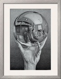 Hand with Globe Art by M. C. Escher