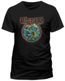 Foo Fighters- Distressed Globe Emblem (Slim Fit) T-skjorte