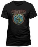 Foo Fighters- Distressed Globe Emblem (Slim Fit) T-Shirt