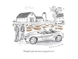 """Pumpkin spice has been very good to me."" - New Yorker Cartoon Premium Giclee Print by Trevor Spaulding"