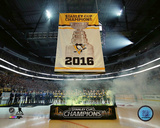 Pittsburgh Penguins raise the 2016 Stanley Cup Champions banner at PPG Paints Arena 10/13/16 Photo
