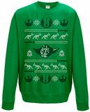 Crewneck Sweatshirt: Star Wars- Holiday Knit Yoda Head T-skjorte