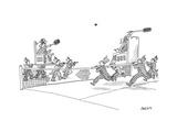 Two royals held by servants play badminton. - New Yorker Cartoon Premium Giclee Print by Jack Ziegler