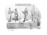 SIX CHARACTERS IN SEARCH OF AN OUTLET. Six people trying to charge their p... - New Yorker Cartoon Premium Giclee Print by Liam Walsh