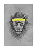 Hipster Lion Giclee Print by Balazs Solti