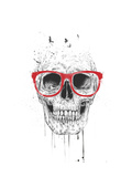 Skull with Red Glasses Giclee Print by Balazs Solti