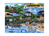 Old New England Seaside 4th of July Celebration Giclee Print by Cheryl Bartley