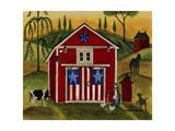Sunrise Red White Blue Barn Lang Giclée-Druck von Cheryl Bartley