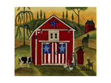 Sunrise Red White Blue Barn Lang Giclee Print by Cheryl Bartley
