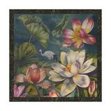 Lotus and Crane Reproduction procédé giclée par Bill Jackson