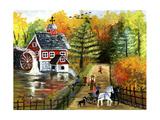 Fishing by the Old Grist Mill Giclee Print by Cheryl Bartley