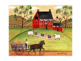 Primitive Americana Sheep with Horse and Wagon Cheryl Bartley Giclee Print by Cheryl Bartley
