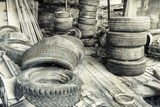 Old Tires BW Photographic Print by Bob Rouse