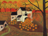 Pumpkin Barn Autumn Folk Art Cheryl Bartley Giclee Print by Cheryl Bartley