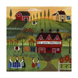Red Barn Quilters Giclee Print by Cheryl Bartley