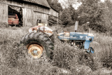 Blue Tractor BW Photographic Print by Bob Rouse