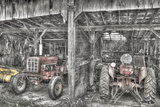 Two Red Tractors BW Photographic Print by Bob Rouse