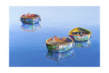 3 Boats Blue 2 Giclee Print by Edward Park