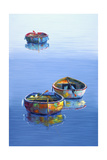 3 Boats Blue Vertical Giclee Print by Edward Park