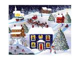 Santa Reindeer Christmas Eve Cheryl Bartley Giclee Print by Cheryl Bartley