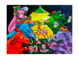 Cows Poker Giclee Print by Howie Green