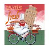 Bike Chef Pisa Green Giclee Print by Gregg DeGroat