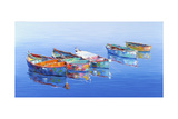 5 Boats Blue Giclee Print by Edward Park