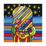 Pop Skull Stripes Giclee Print by Howie Green