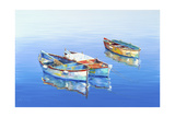 3 Boats Blue 1 Giclee Print by Edward Park