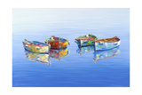 4 Boats Blue Giclee Print by Edward Park