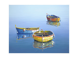 3 Boats Blue 3 Giclee Print by Edward Park