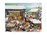 Barnyard Christmas Party Giclee Print by Carol Salas