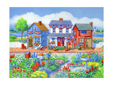 Red White and Blue Shops Giclee Print by Geraldine Aikman