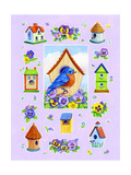Bluebird and Pansies Giclee Print by Geraldine Aikman