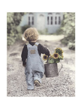 Boy with Sunflowers Giclee Print by Gail Goodwin