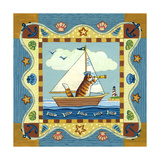 Folk Art Cat Sailing Giclee Print by Geraldine Aikman