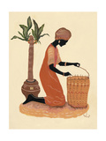 Kneeling Right Weaving Basket - Orange Dress Giclee Print by Judy Mastrangelo